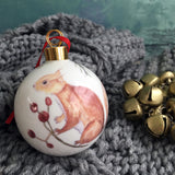 Bone china Christmas Bauble - Red squirrel design