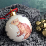 Red Squirrel Bone China Christmas Bauble