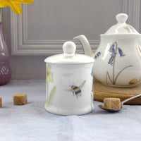Bee and spring flower Sugar/Jam Pot with Lid
