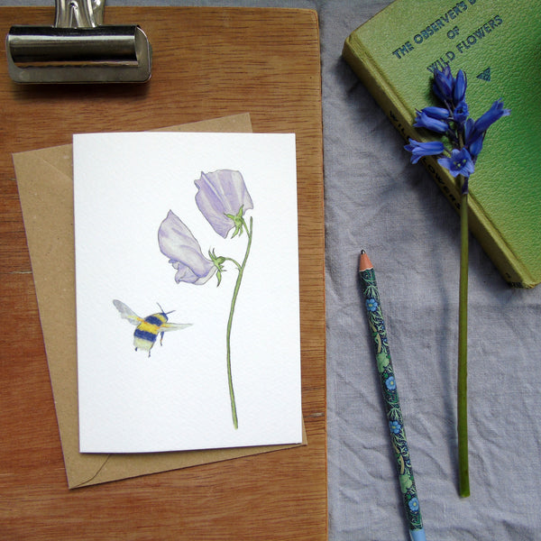 Sweet pea and bee greetings card