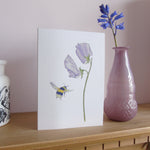 A6 Sweet pea and Bee card