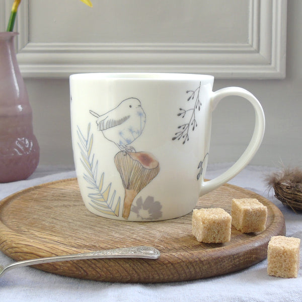Wren and Toadstool bone china Mug