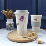 Bee and spring flower bone china travel mug