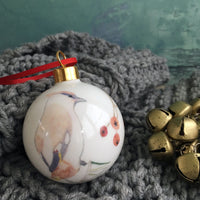 Waxwing Bone china Christmas bauble