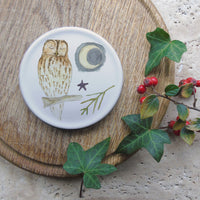 Winter coaster - tawny owl and moon