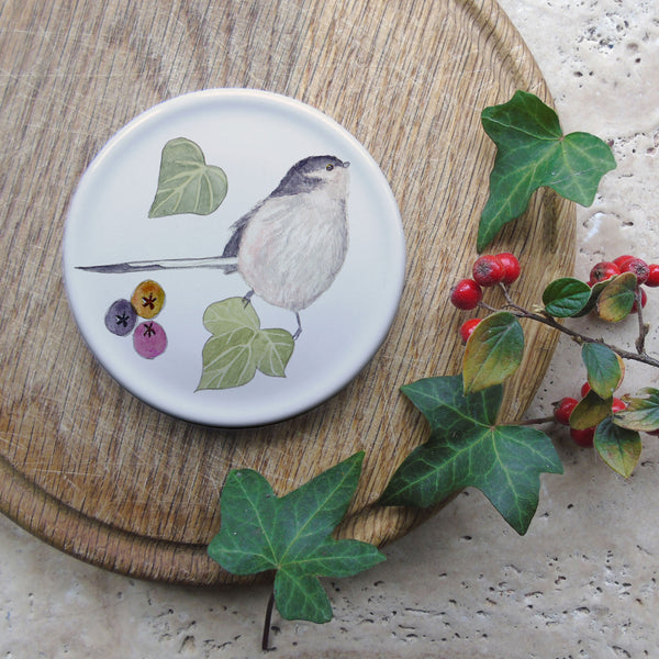 Winter coaster - long tailed-tit and berries