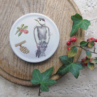 Winter coaster - woodpecker and pinecone