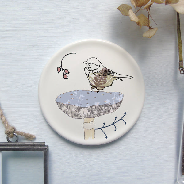 Decorative mini wall plate - coal tit on mushroom design