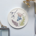 Round Coaster - wren on toadstool design