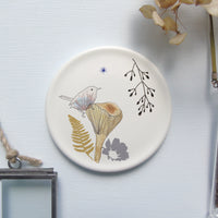 Decorative mini wall plate - wren on toadstool