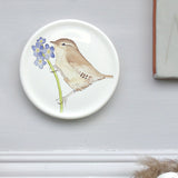 Spring coaster - wren and forget me not