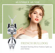 925 Sterling Silver French Bulldog Pendant Necklace - [presents_for_him_and_her].