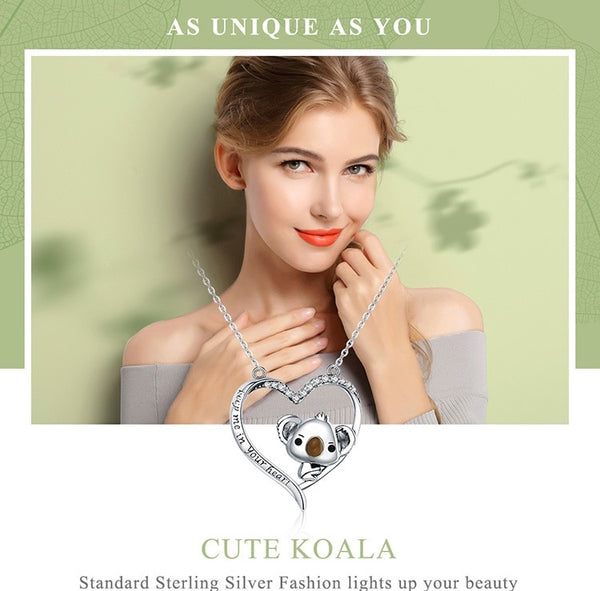 925 Sterling Silver Lovely Koala in Heart Pendant Necklace - [presents_for_him_and_her].