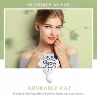 925 Sterling Silver Cute Cat Dangle Pendant Necklace - [presents_for_him_and_her].