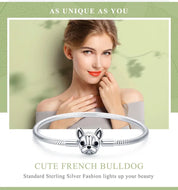 925 Sterling Silver French Bulldog Snake Chain Bracelet - [presents_for_him_and_her].