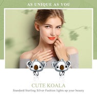 925 Sterling Silver Koala Bear Stud Earrings - [presents_for_him_and_her].