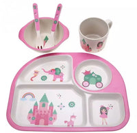 4 Slots Eco-friendly Children Tableware Set Bowl With Cup Spoon Plate Bamboo Fiber - [presents_for_him_and_her].