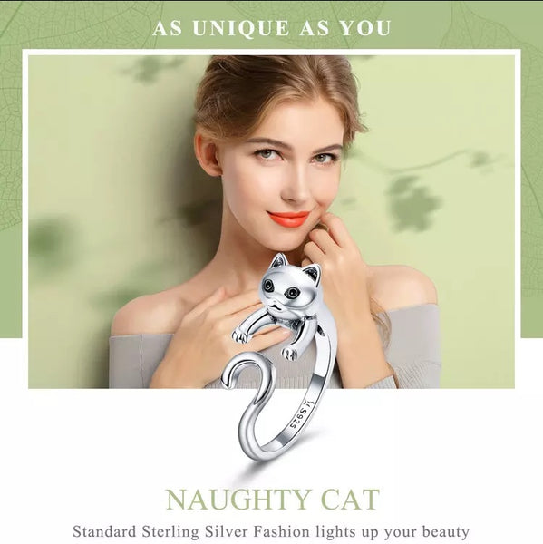 925 Sterling Silver Long Tail Naughty Cat Finger Ring - [presents_for_him_and_her].