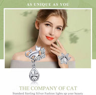925 Sterling Silver Dazzling CZ Guardian Cat Stud Earrings - [presents_for_him_and_her].