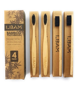 4 Pack of Environment-friendly Bamboo Toothbrushes - [presents_for_him_and_her].