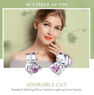 925 Sterling Silver Cat Pink Cubic Zircon Small Stud Earrings - [presents_for_him_and_her].