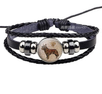French Bulldog Glass Dome Leather Bracelet - [presents_for_him_and_her].