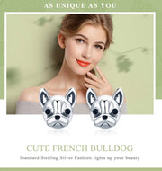 925 Sterling Silver French Bulldog Stud Earrings - [presents_for_him_and_her].