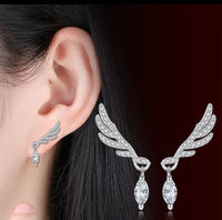 925 Sterling Silver Angel Wing Cubic Zirconia Statement Earrings - [presents_for_him_and_her].