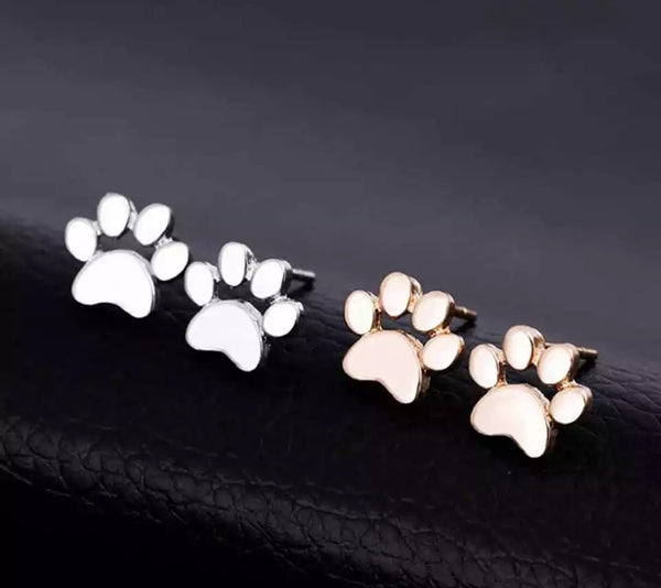 Cat/Dog Paw Print Earrings - Colours Gold & Silver - [presents_for_him_and_her].
