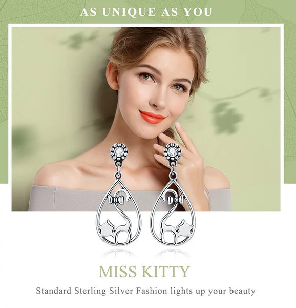 925 Sterling Silver Naughty Cat Earrings - [presents_for_him_and_her].