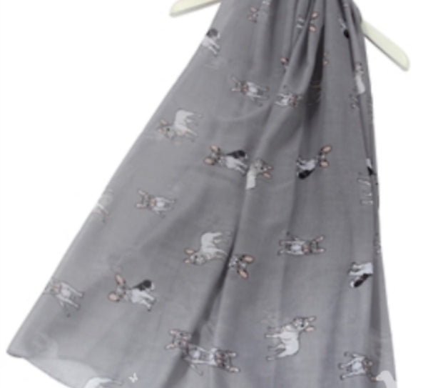 Ladies French Bulldog Scarf Sarong - [presents_for_him_and_her].