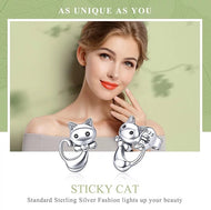 925 Sterling Silver Sticky Cat Stud Earrings - [presents_for_him_and_her].