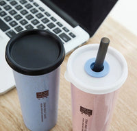 Wheat Straw 470ml LeakProof Cup - [presents_for_him_and_her].