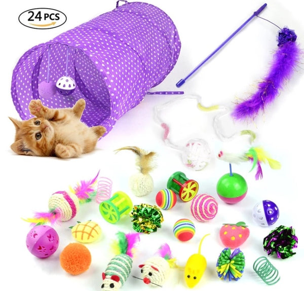 24Pcs Cat Toys And Collapsible Tunnel Set - [presents_for_him_and_her].