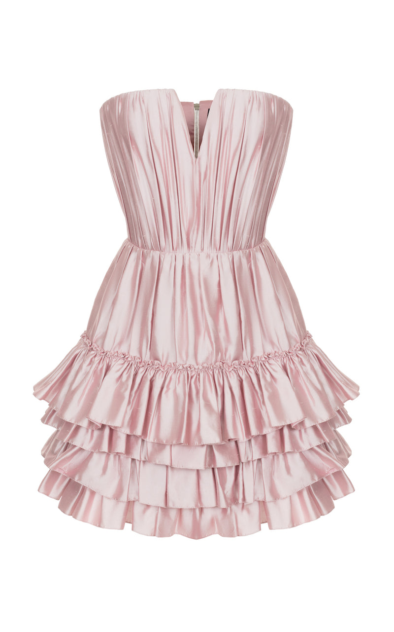 RUFFLED SILK CORSET MINI DRESS