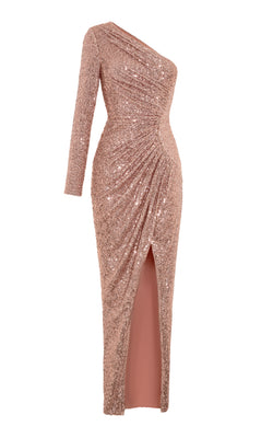 One-Shoulder Draped Sequined Gown