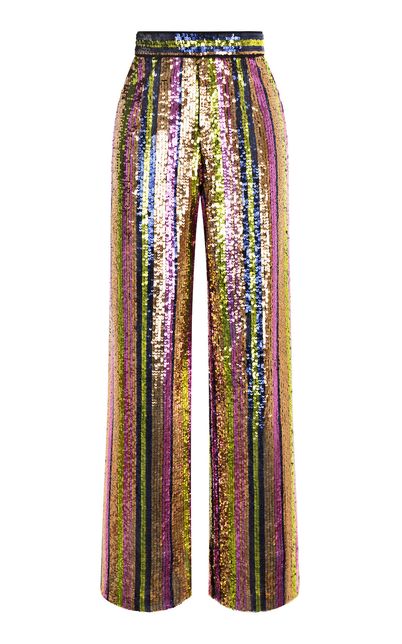 STRAIGHT-LEG STRIPED SEQUIN PANTS