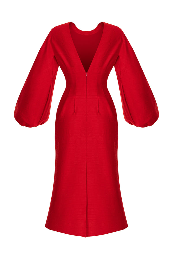 VOLUMINOUS SLEEVE SILK MIDI DRESS