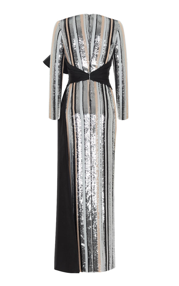 STRIPED SEQUIN GOWN WITH SILK BOW