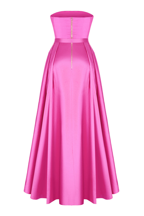SILK CORSET GOWN WITH VOLUMINOUS SKIRT