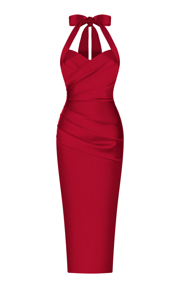 Draped satin midi dress with wide straps