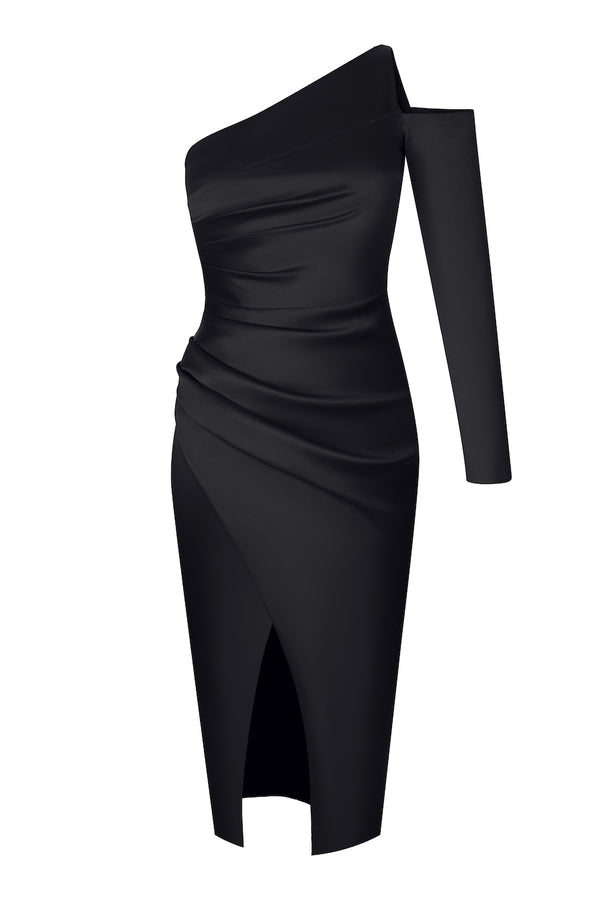 ASYMMETRIC DRAPED SATIN MIDI DRESS