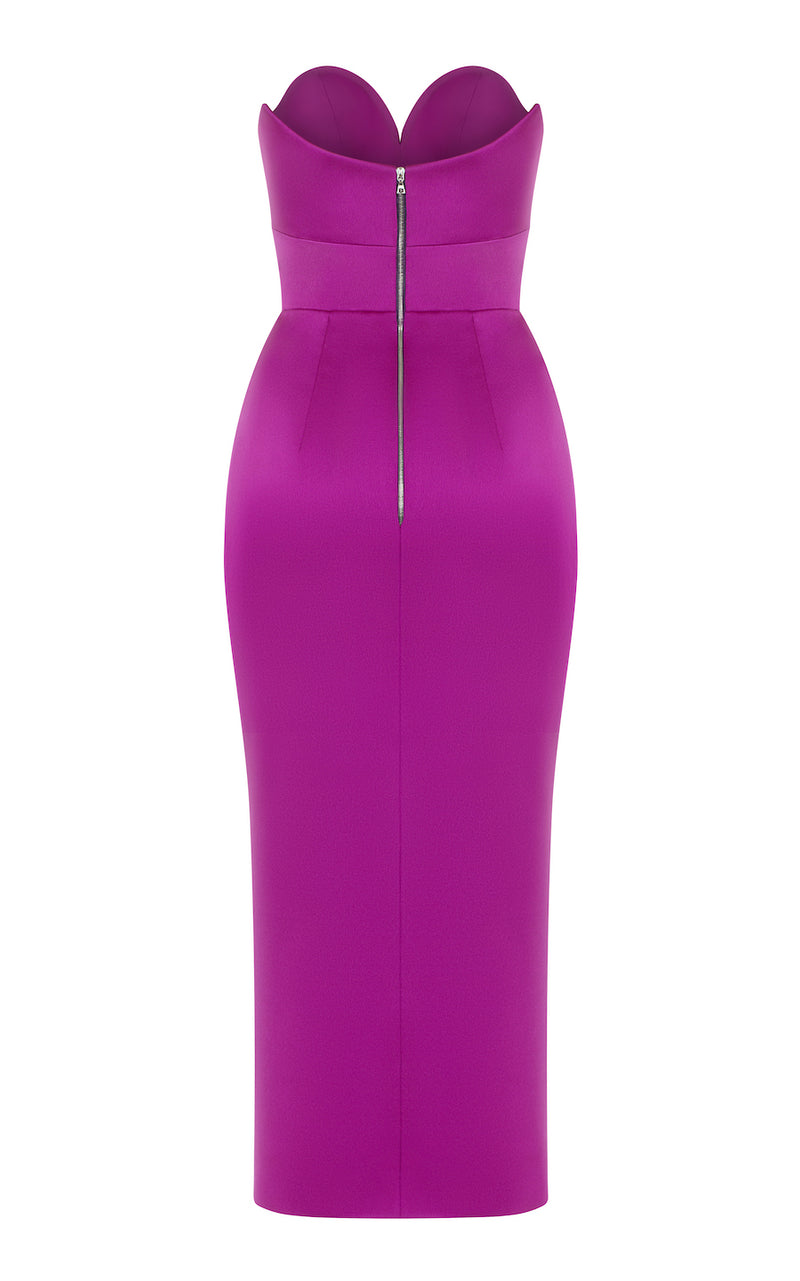 STRAPLESS SATIN CORSET MIDI-DRESS WITH FRONT SLIT
