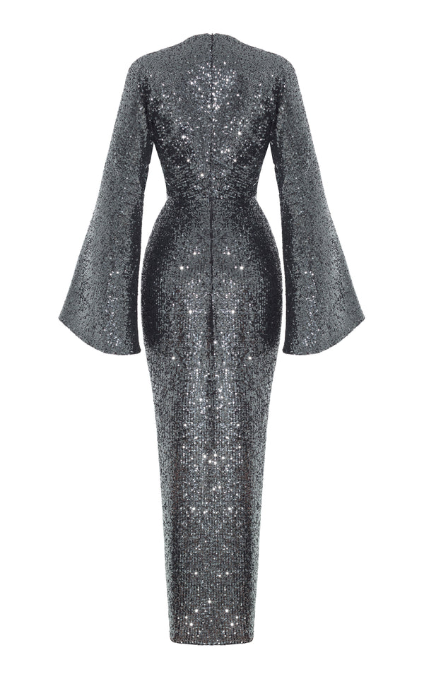 Twisted-Front Sequined Gown