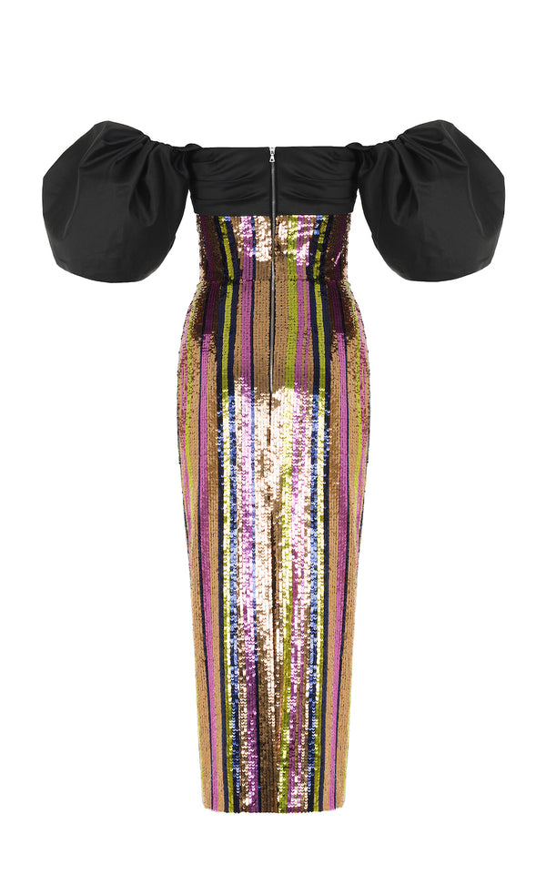PUFF SLEEVE STRIPED SEQUIN AND SILK CORSET MIDI DRESS