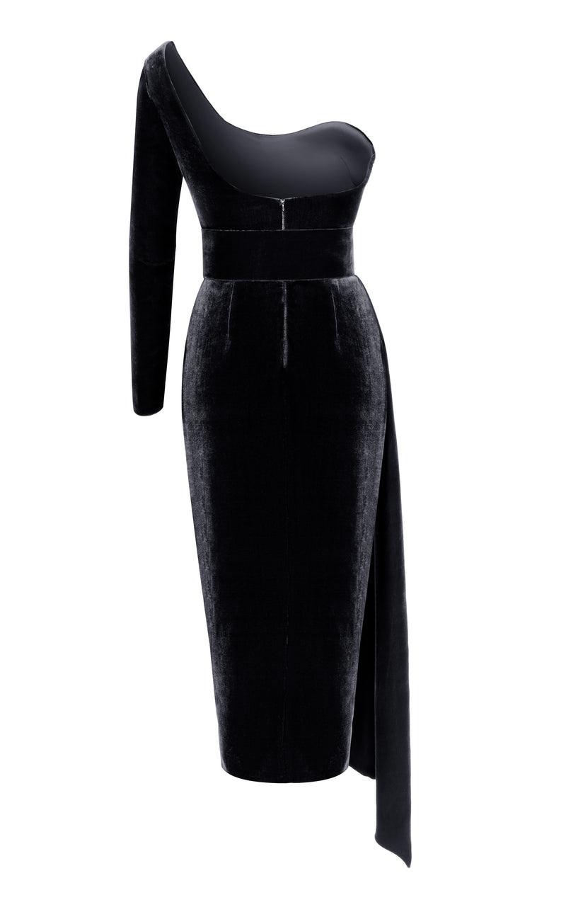 Silk Velvet Corset Midi Dress with One Sleeve