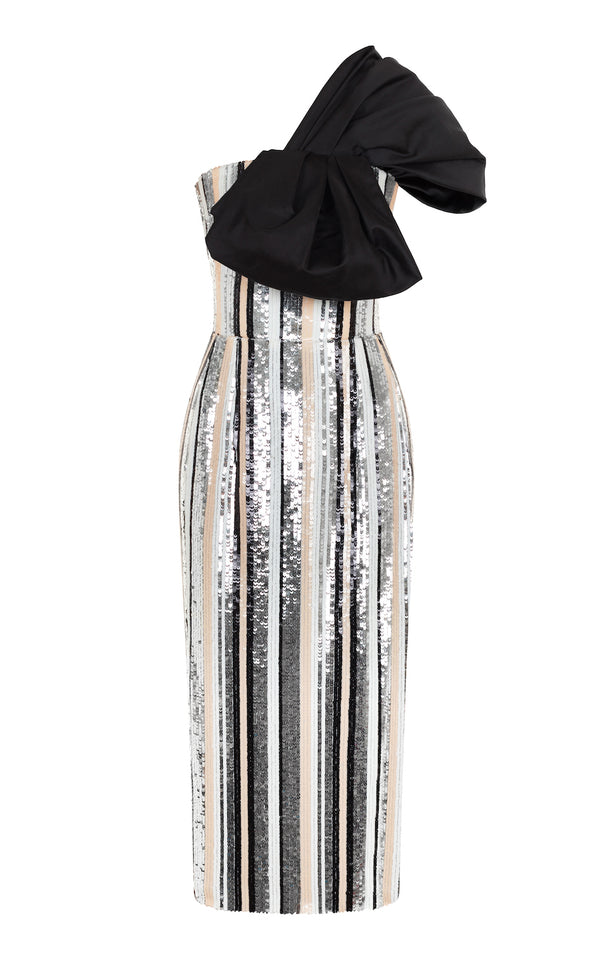 STRIPED SEQUIN CORSET MIDI-DRESS WITH SILK BOW