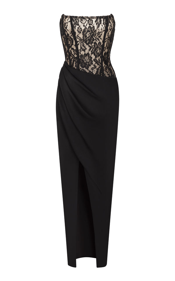 Asymmetric crepe and lace corset gown