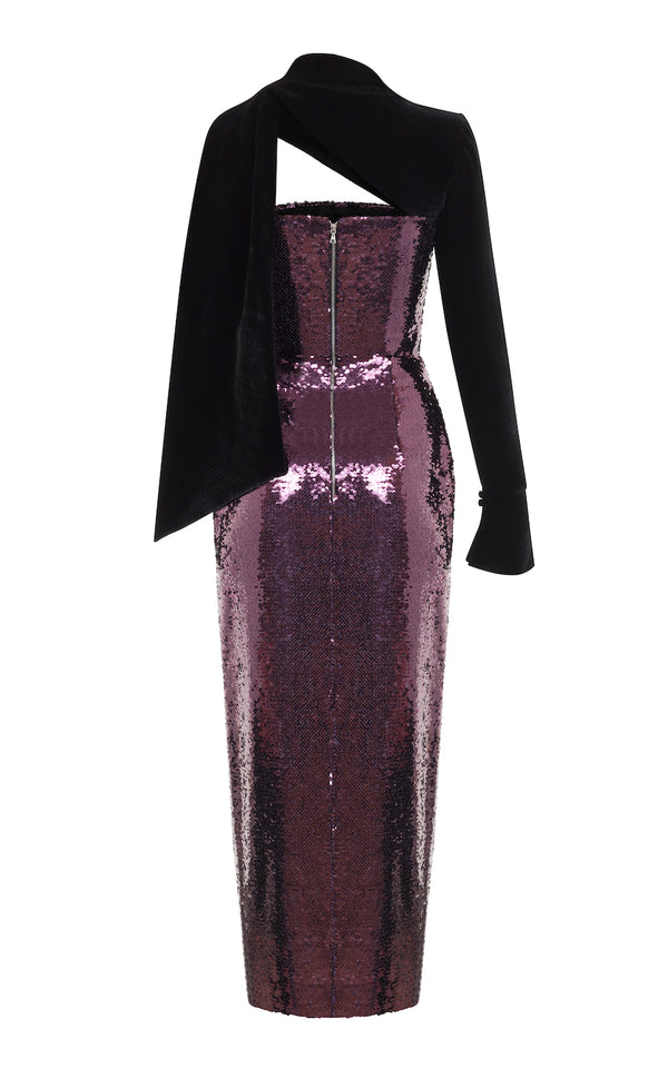 ASYMMETRIC SEQUIN AND VELVET CORSET MIDI DRESS