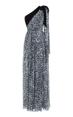 Silk Velvet and Leopard-Print Chiffon Gown with Asymmetric Top